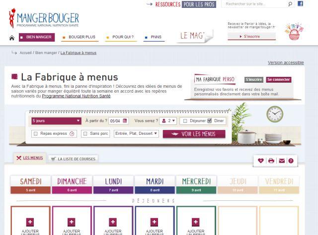 copie écran fabrique à menus pour manger équilibré et sain